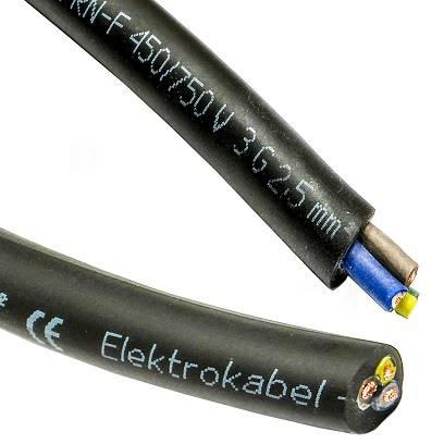 Przewód przemysłowy OnPD 3x2,5 żo gumowy 1m