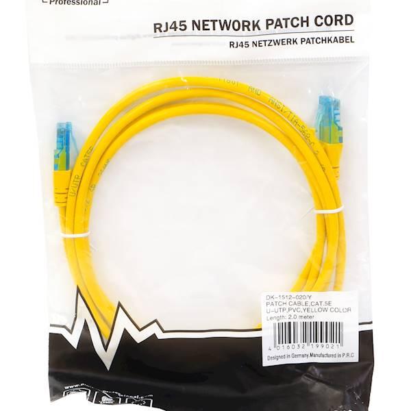 Kabel krosowy U/UTP kat.5e żółty 2m DK-1512-020/Y