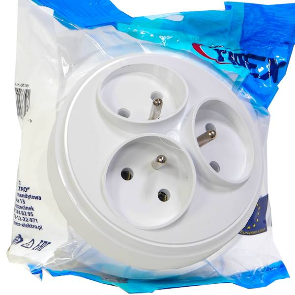 Rozgałeźnik 3x2P+Z okrągły biały R-36 TIMEX-Elektr