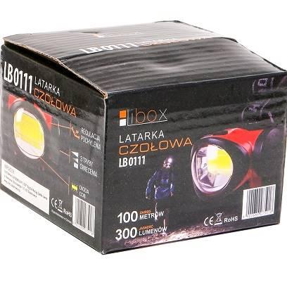Latarka czołowa LED COB 300lm LB0111 LIBOX