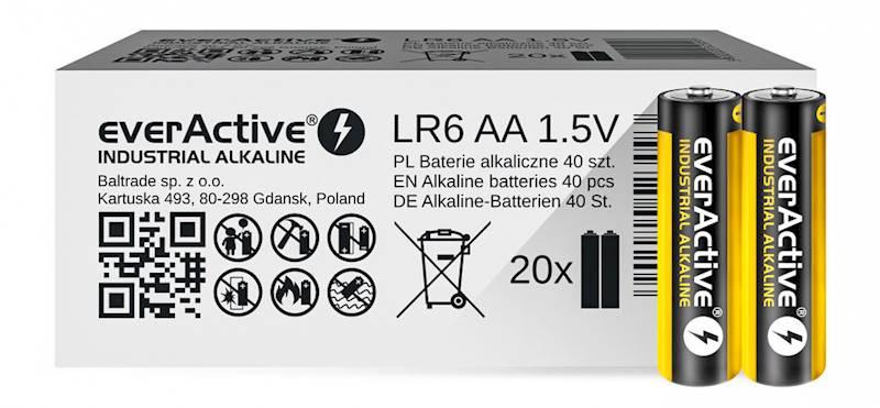 40xbaterie alkaliczne everActive Industrial LR6 AA