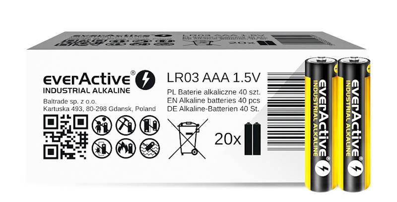 40 x baterie alkaliczne everActive Industrial LR03