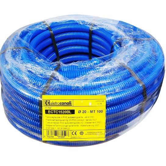 Rura karbowana niebieska 750N fi20 PVC 100m