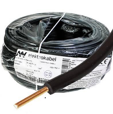 Przewód drut H07V-K DY 1,5 ELEKTROKABEL czarn 100m