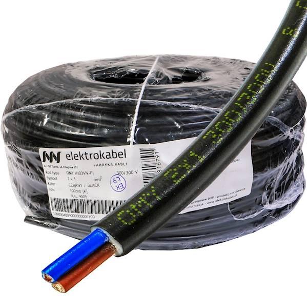 Przewód H03VV-F OMY 2x1 czarny Elektrokabel 100m