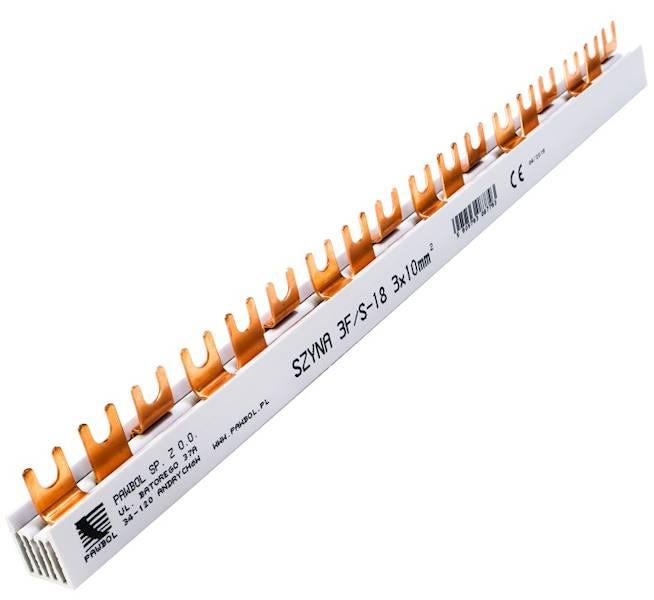 Szyna prądowa 3P 63A 10mm2 widełkowa 18 mod 3F