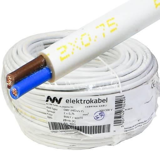 Przewód H03VV-F OMY 2x0,75 biały Elektrokabel 25m
