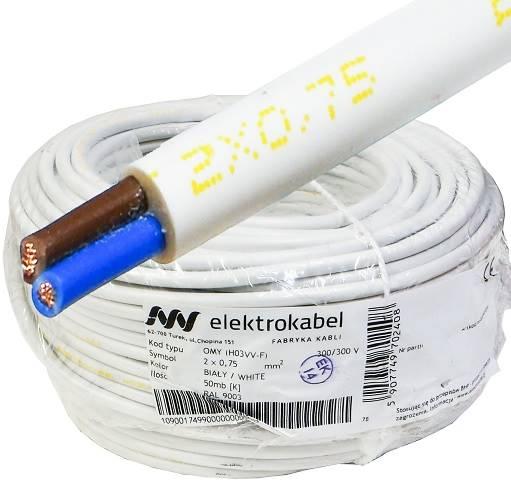 Przewód H03VV-F OMY 2x0,75 biały Elektrokabel 50m