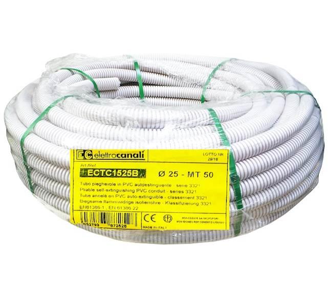 Rura karbowana biały 750N fi25 PVC 50m