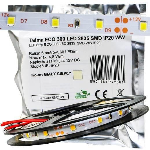 Taśma 300 LED 2835SMD 24W ciepła 12V IP20 ECO 5m