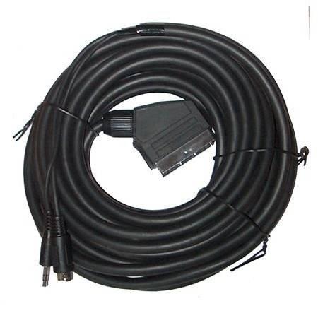 Kabel Euro wtyk SVHS wtyk + Jack 3,5 wtyk 15m