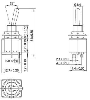 Przełącznik MTS201 3A 250V podwójny ON-OFF