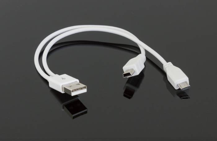 Adapter USB wtyk - micro mini USB wtyk 2w1 biały