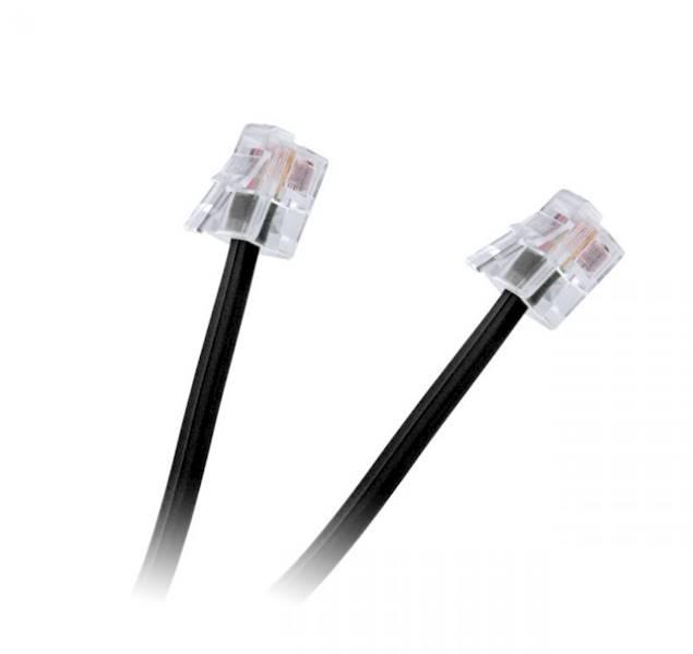 Kabel telefoniczny 10m wtyk - wtyk czarny