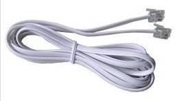 Kabel telefoniczny 7 m wtyk - wtyk biały