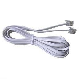 Kabel telefoniczny 2 m wtyk - wtyk biały