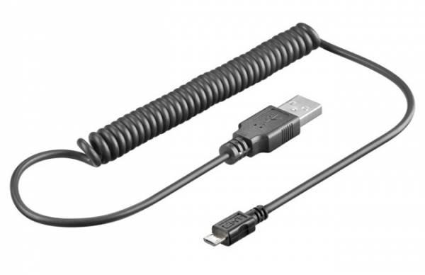 Kabel USB A wtyk - micro USB wtyk spiralny 1m