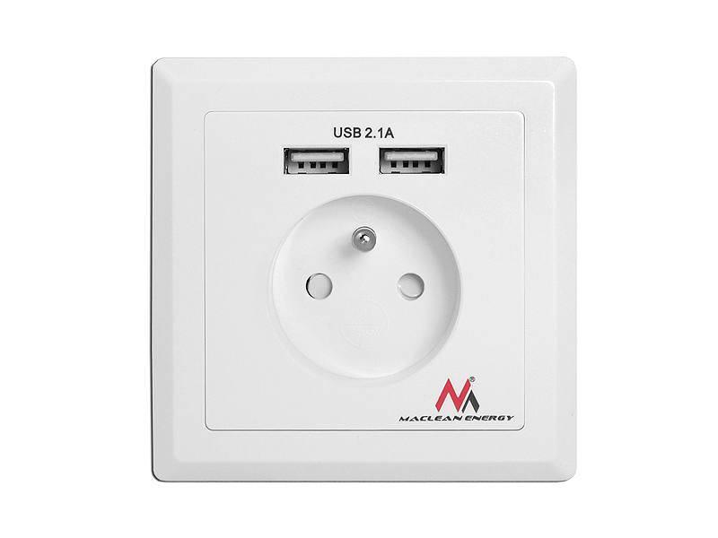 Gniazdko prądowe z ładowarką USB 2,1A MACLEAN
