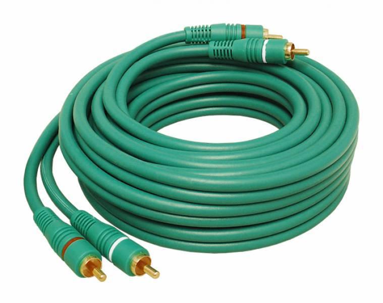 Kabel 2RCA wtyk - 2RCA wtyk 1.5m zielony