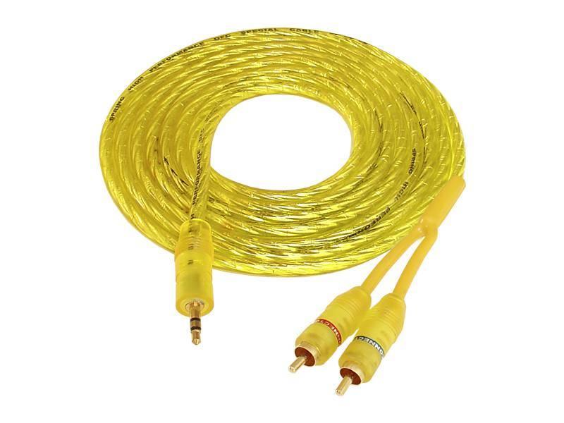 Kabel Jack 3.5mm - 2 x wtyk RCA 1.5m żółty