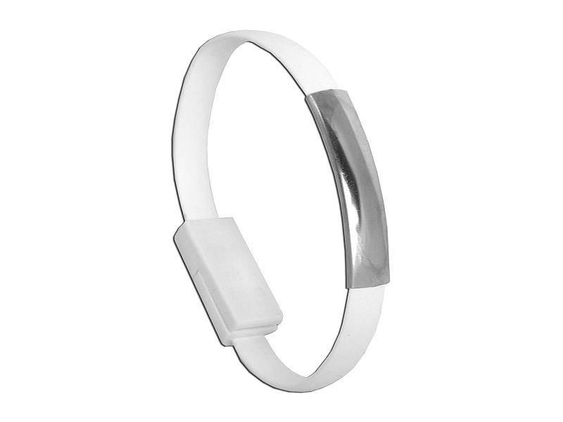 Kabel USB wtyk - micro USB wtyk bransoletka biała
