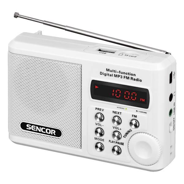 Kieszonkowy odbiornik radiowy biały SENCOR