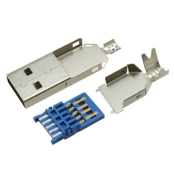 Wtyk USB 3.0 typ A  montowane na kabel