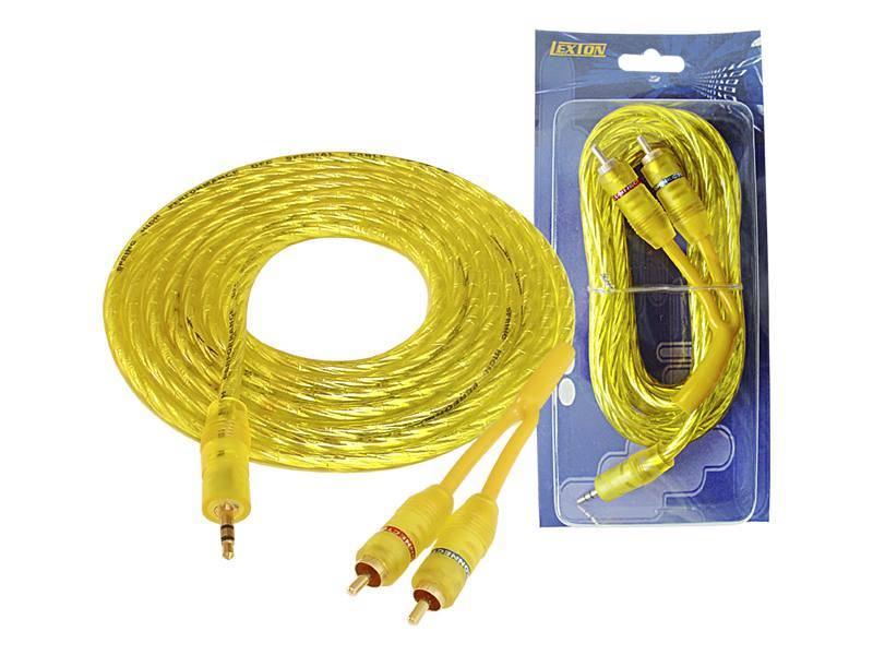 Kabel Jack 3.5mm - 2 x RCA wtyk 3m żółty