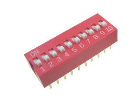 DIP Switch 10 polowy Czerwony
