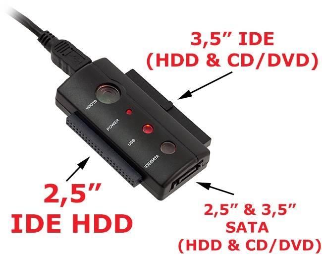Adapter USB IDE 2,5 3,5 SATA + LED