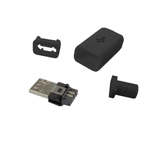 Wtyk  micro USB B  montowany na kabel