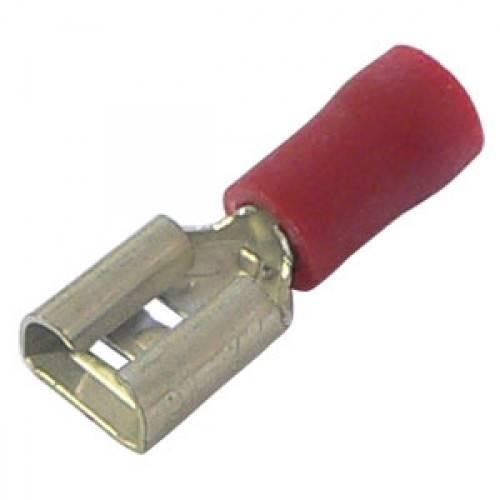Konektor izolowany żeński czerwony 6.3mm