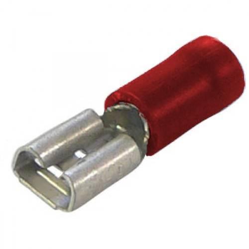 Konektor izolowany żeński czerwony 4.8mm