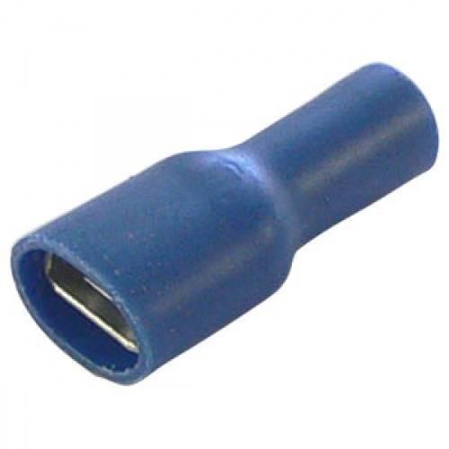 Konektor cały izolowany żeński niebieski 6.3mm