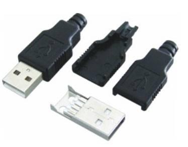 USB typ A wtyk na kabel z osłoną