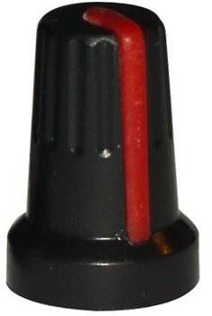 Gałka potencjometru czarno-czerwona 14mm