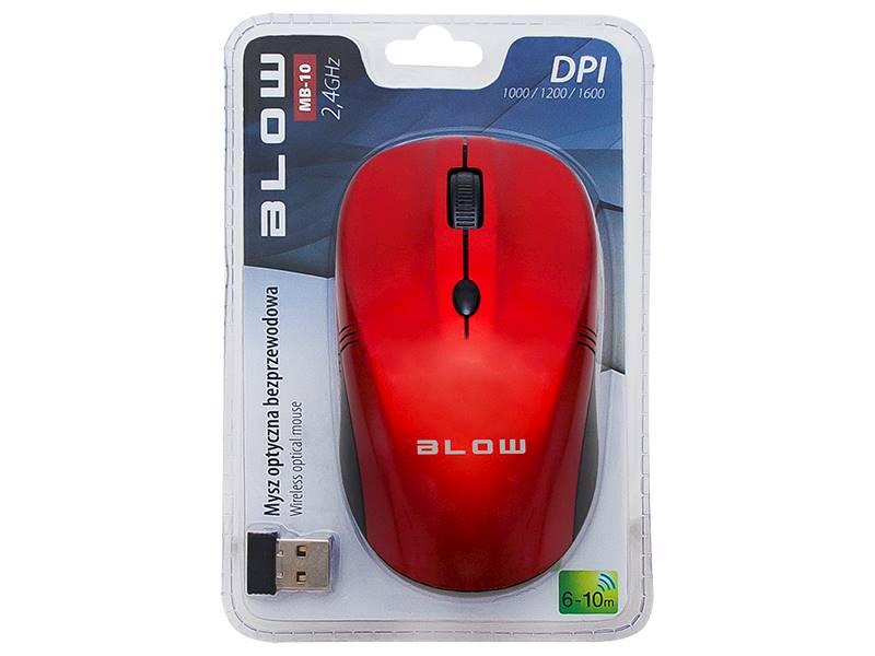 Mysz optyczna bezprzewa BLOW MB-10 czerwona