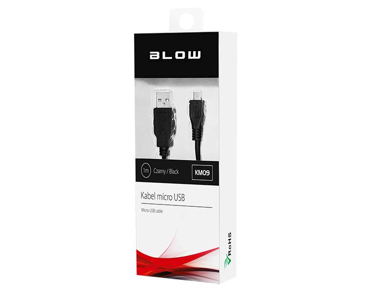 Kabel micro USB 1m CZARNY BLOW