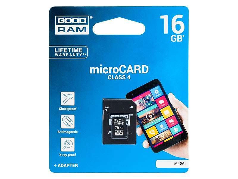 Karta micro-SD HC 8GB + adapter SD Goodram