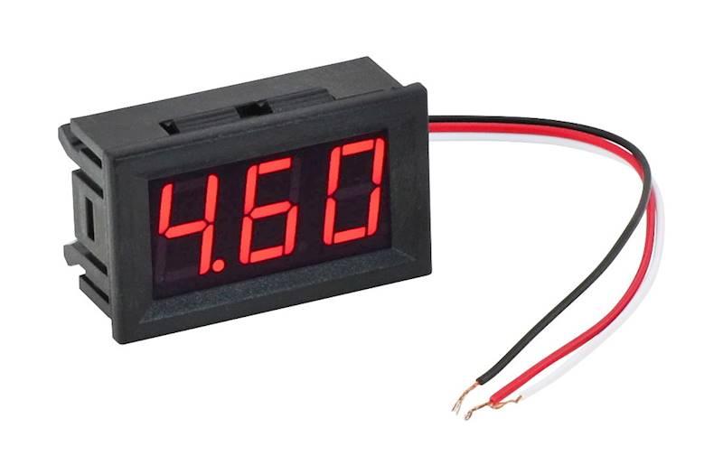 Woltomierz panelowy LED 3-30V DC Czerwony