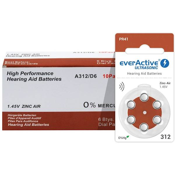 Baterie do aparatu słuchowego 312 EverActive 6szt