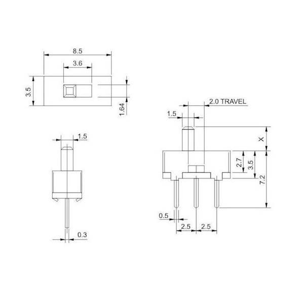 Przełącznik suwakowy SS12D00G4