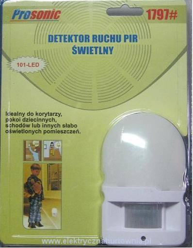 Detektor ruchu PIR, świetlny LED