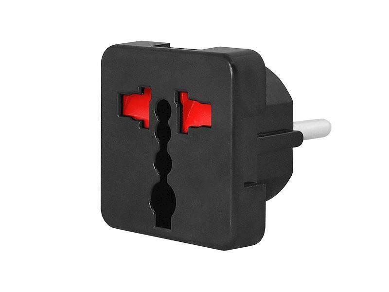 Adapter AC wtyk PL - gniazdo uniwersalne czarny