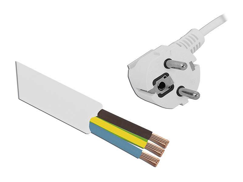 Kabel zasilający 3x1,5 biały, 1,5m