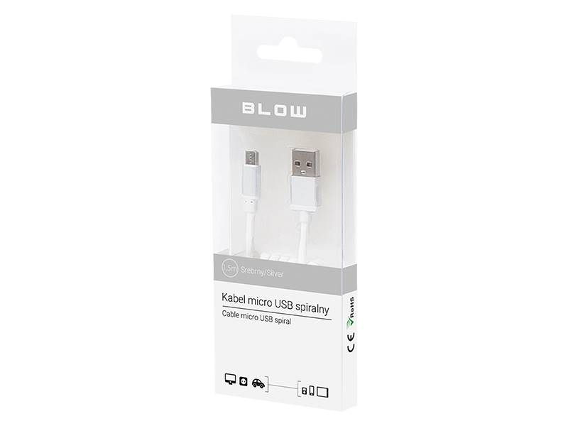 Kabel USB A wtyk - micro B wtyk 1,5m spiralny BLOW