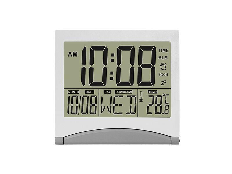 Cyfrowy zegar z wbudowanym termometrem, srebrny