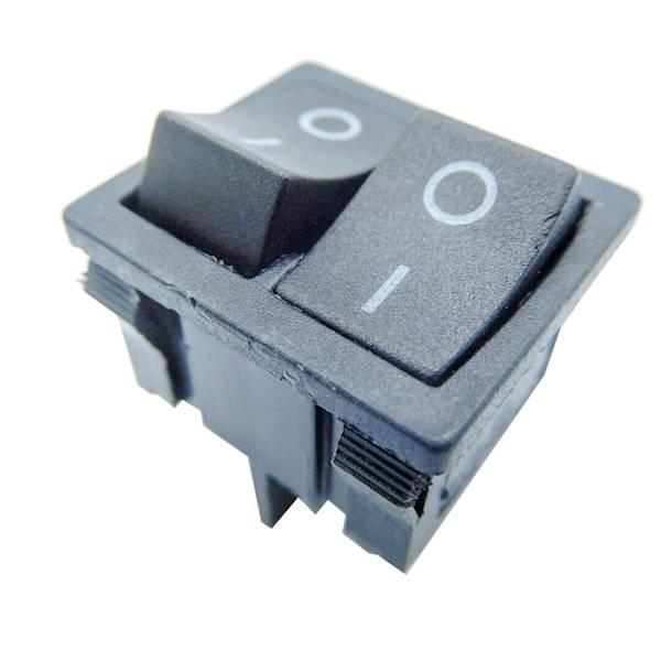 Przełącznik kołyskowy mały podwójny, czarny on-on