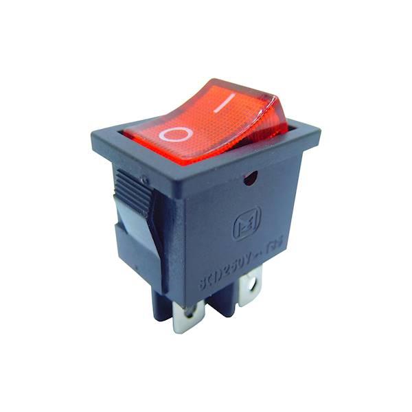 Przełącznik podświetlany mały 12V czerwony