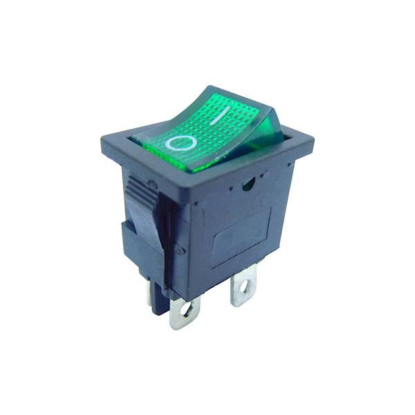 Przełącznik podświetlany mały 12V zielony
